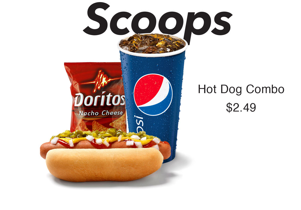 Hot dog combo at Scoops.