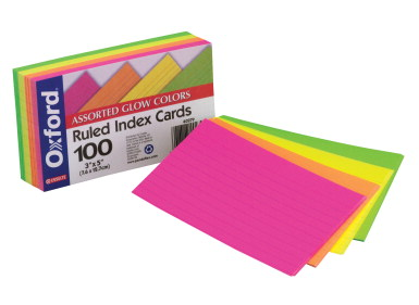Oxford Ruled Index CardsAssorted Glow Colors3x5