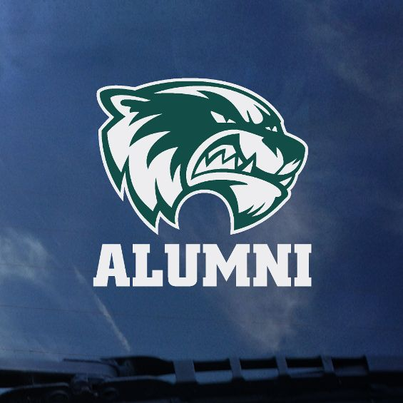 "Green and White Head""Alumni"" 4"" Decal"