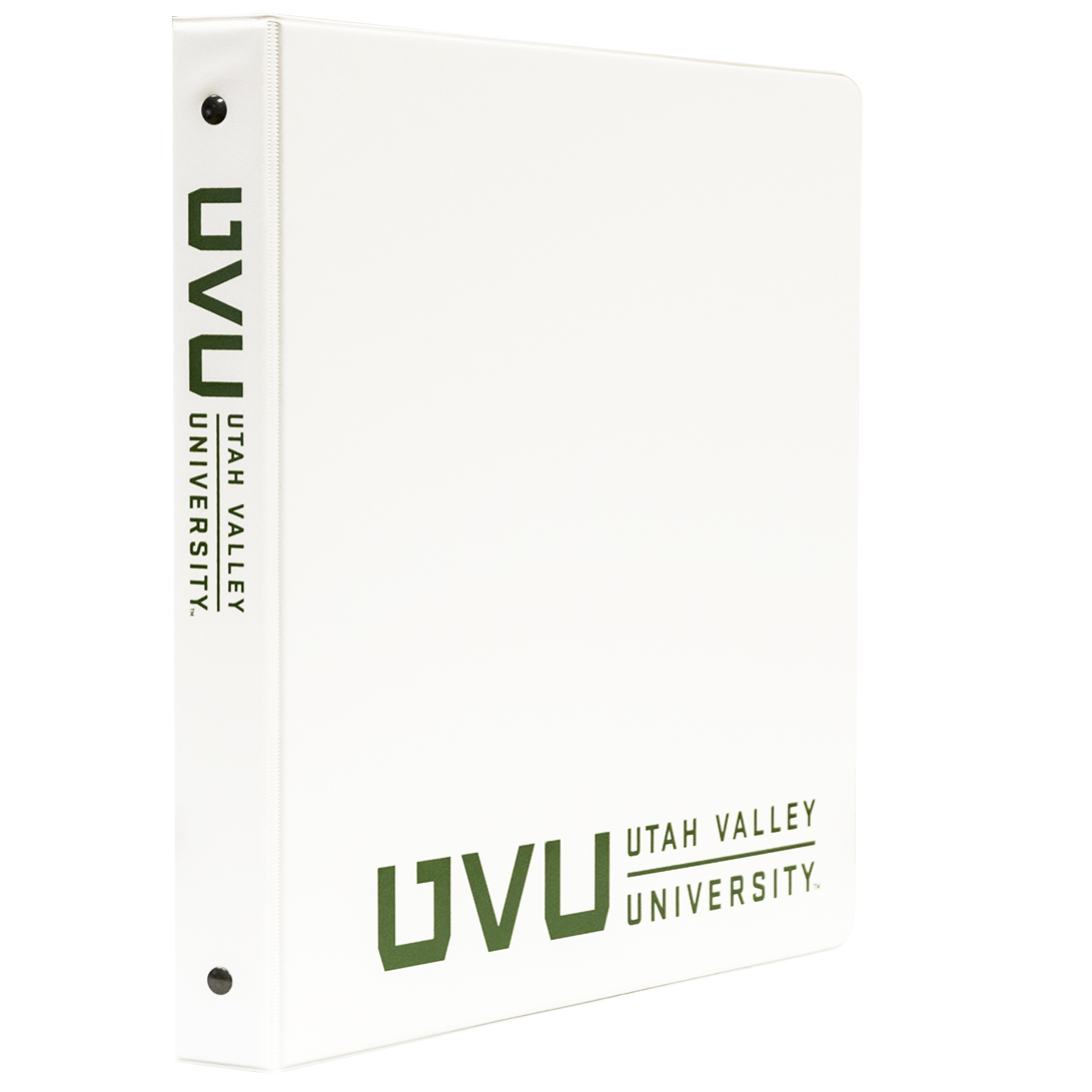 "1"" UVU BinderWhite with Green Logo"