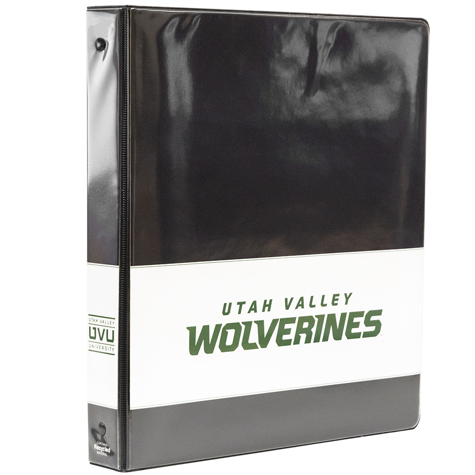 Utah Valley WolverinesWhite Stripe Binder