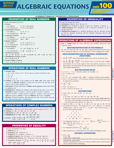 Image For Quick Study<br>Algebraic<br>Equations Quizzer