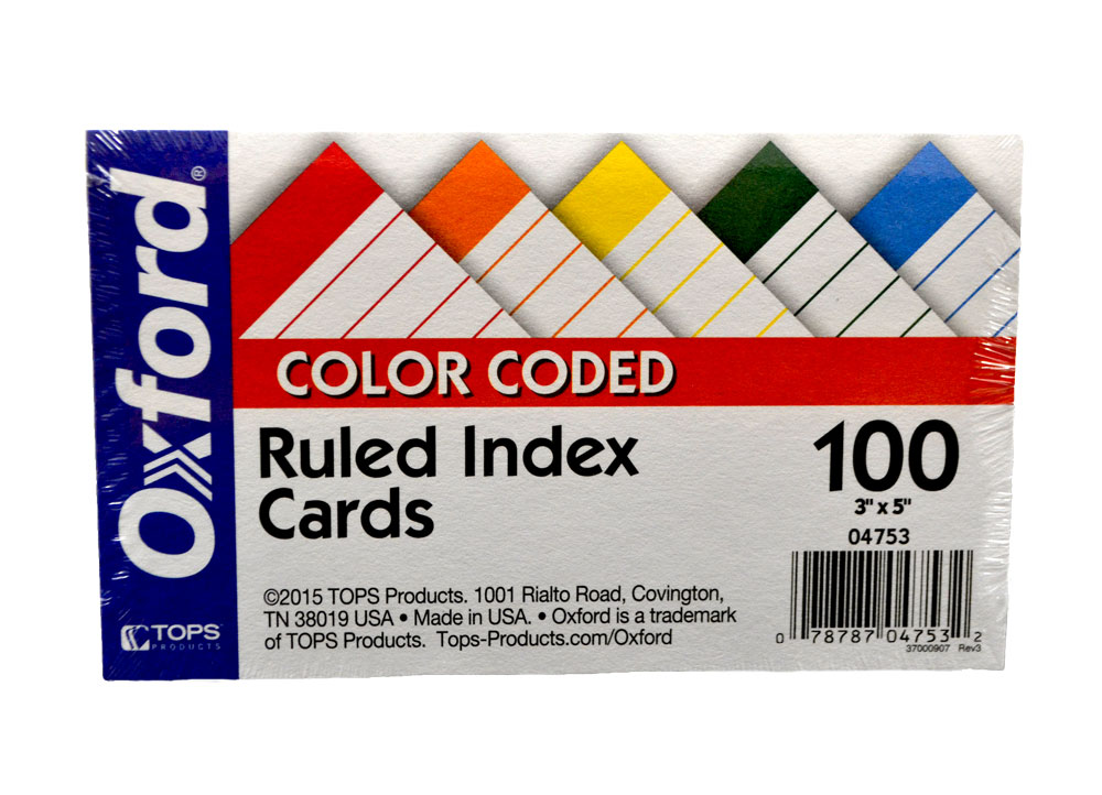 Image For Oxford Index Cards<br>Color Coded 3x5