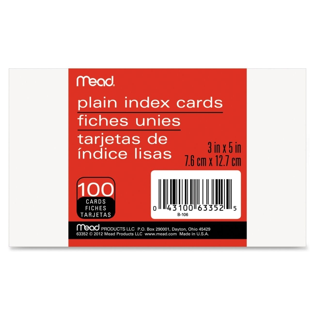 Image For Mead Index Cards<br>Plain 3x5