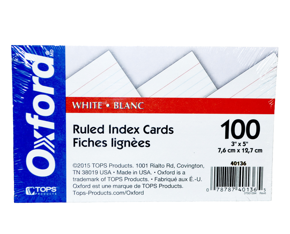 Cover Image For Oxford Index Cards<br>3x5
