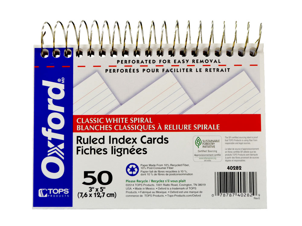 Image For Oxford Index Cards<br>Spiral Bound 3x5