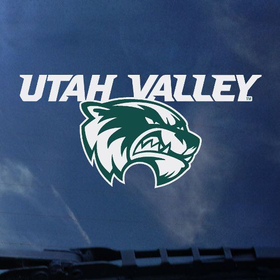 "Cover Image For Green and White Head<br>""Utah Valley""<br>6""x 3"" Decal"