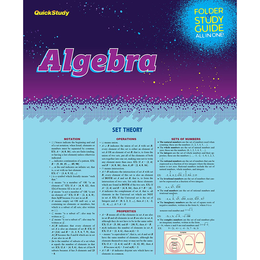 Image For BarCharts Algebra Study Folder