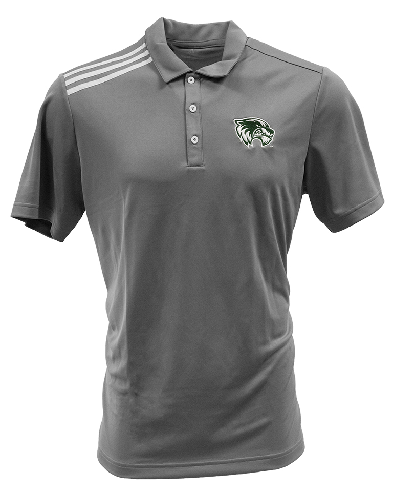 Image For Adidas Three Stripe<br>Gray Polo<br>Mens Cut
