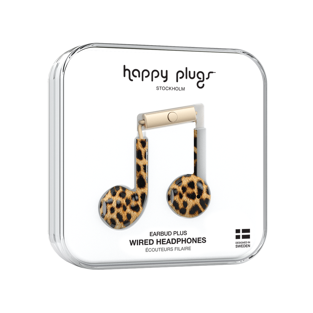 Image For Happy Plugs Earbud Headphones<br>Leopard