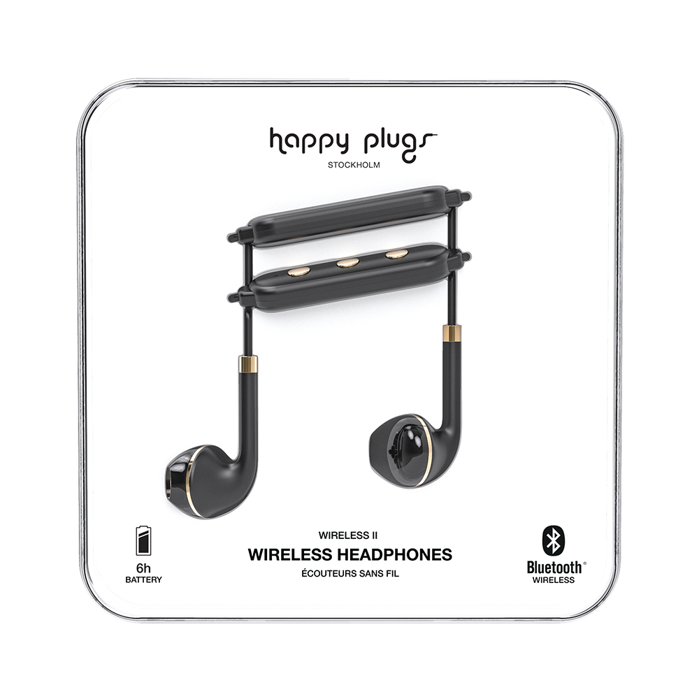 Image For Happy Plugs Earbud Wireless II Headphones<br>Black & Gold