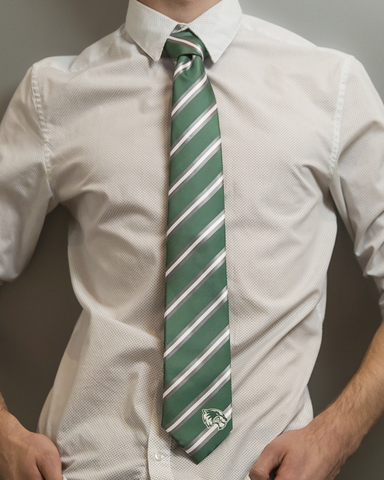 Image For Striped Green Gray and White Tie