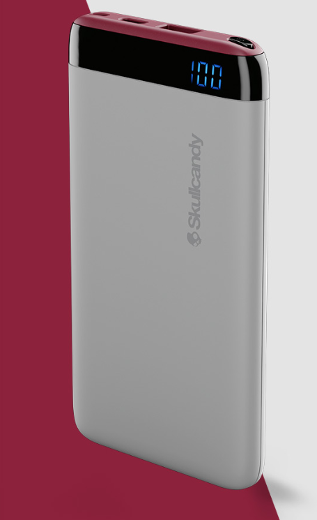 Image For Skullcandy Stash <BR>Portable Power Bank<BR>Gray and Crimson