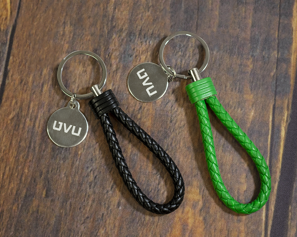 Image For Leather Braided Key Chain<br>Black or Green