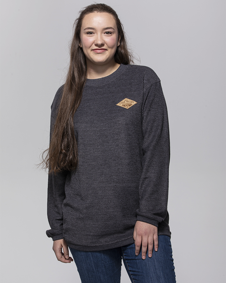 Image For MV Sport<br>Charcoal Bryce Cord<br>Crew Sweatshirt