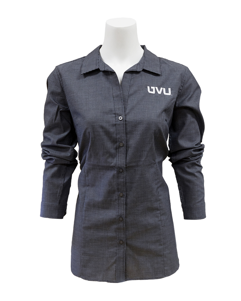Image For Women's Fit Black/Gray Button-up
