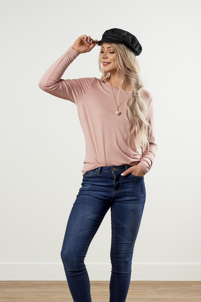 Image For Round Neck<br>Long Sleeve Top<br>Dusty Pink