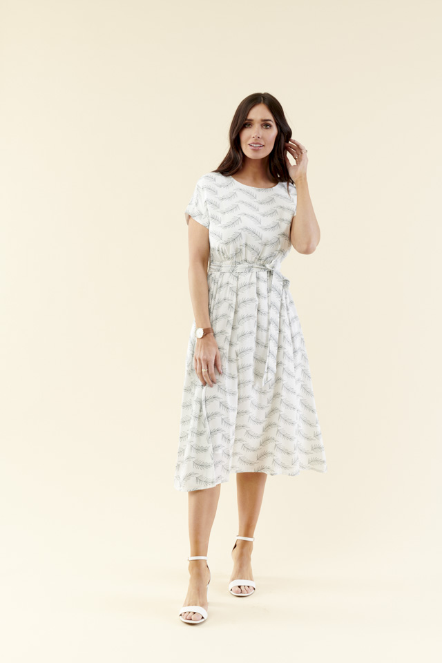 Image For Dolman Sleeve Elastic<br>and Tie Midi Dress<br>Cream