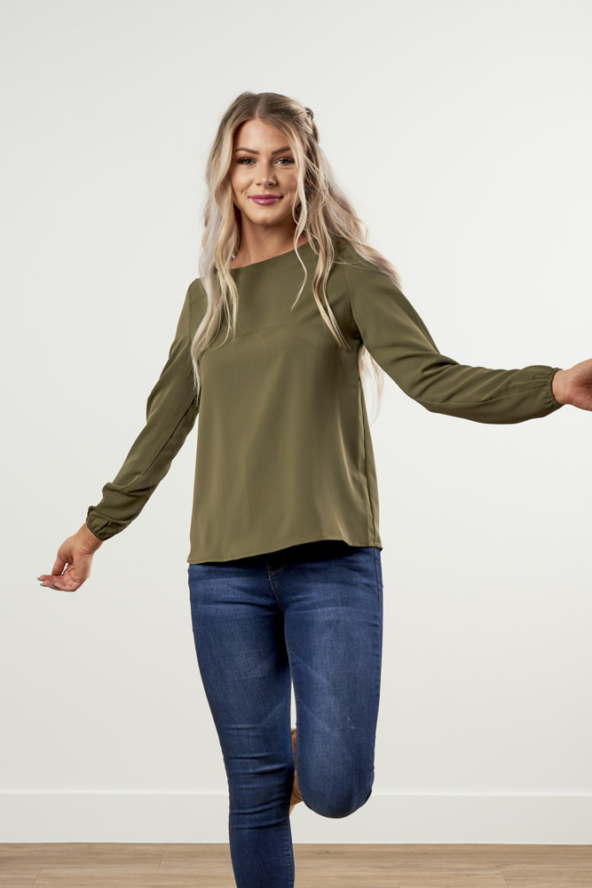 Image For Long-Sleeve<br>Classic Blouse Top<br>Olive Green
