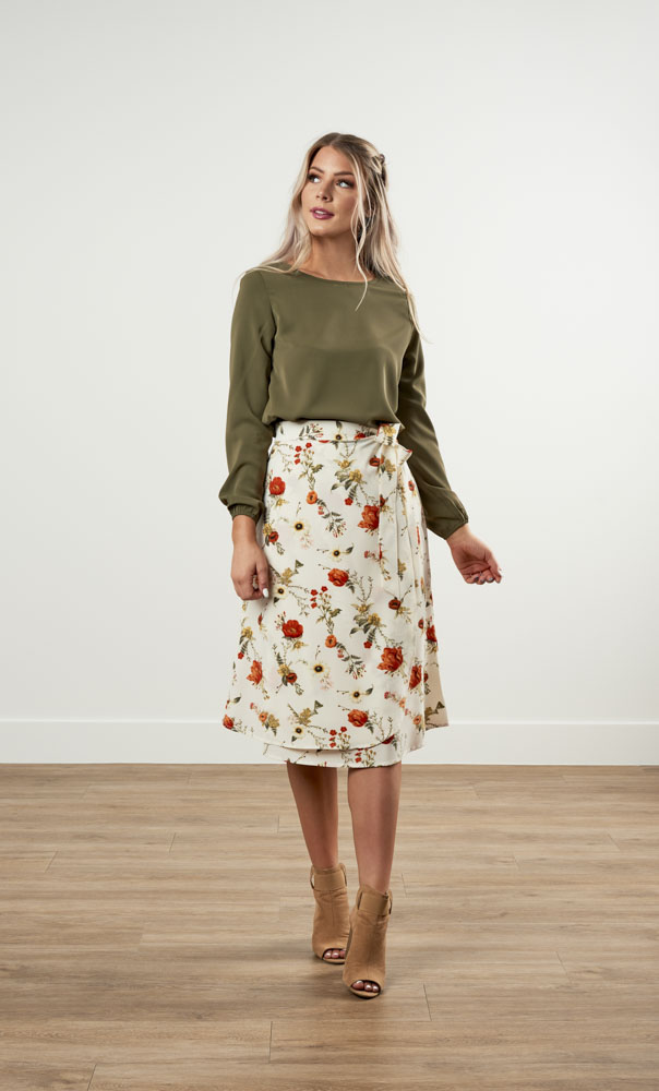 Image For A-Line Wrap Skirt Floral Blush