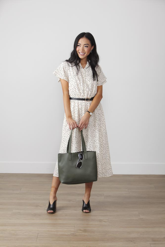 Image For Button Top Double<br>Flare Sleeve Dress<br>Ivory Speckled