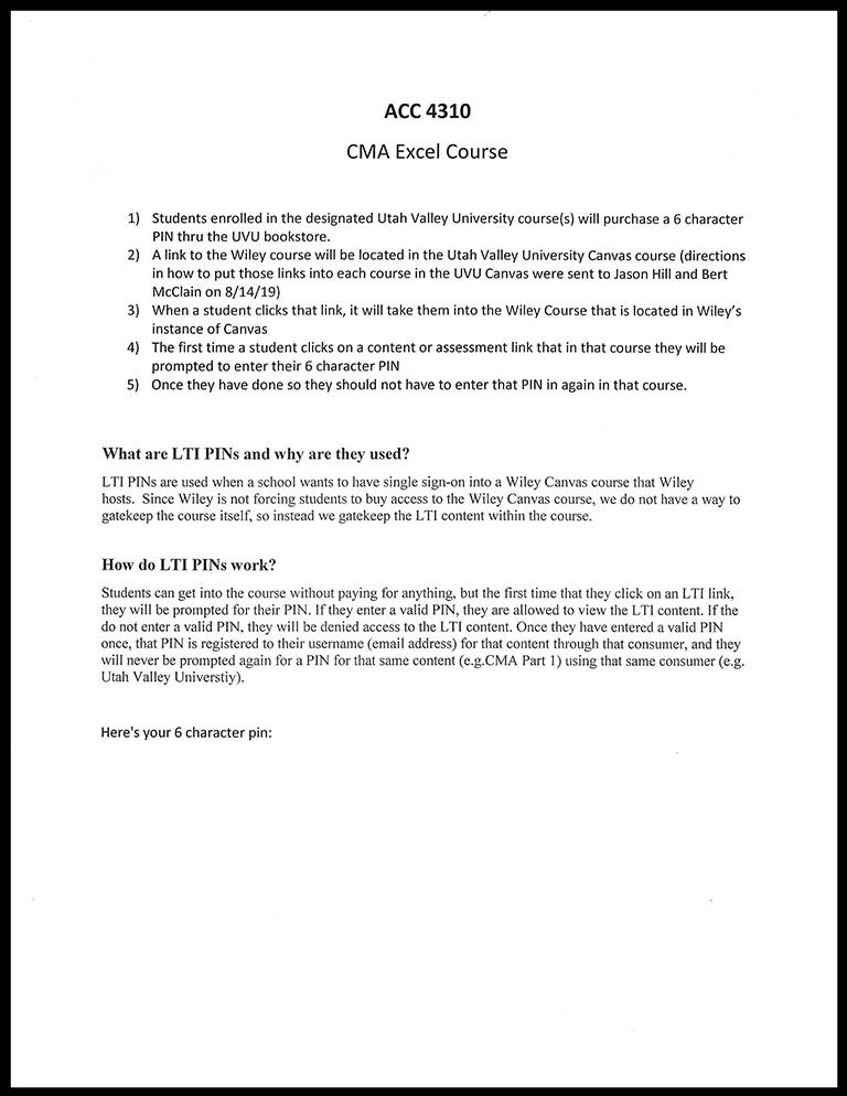 Image For ACC 4310<br>CMA Excel Course Part 2