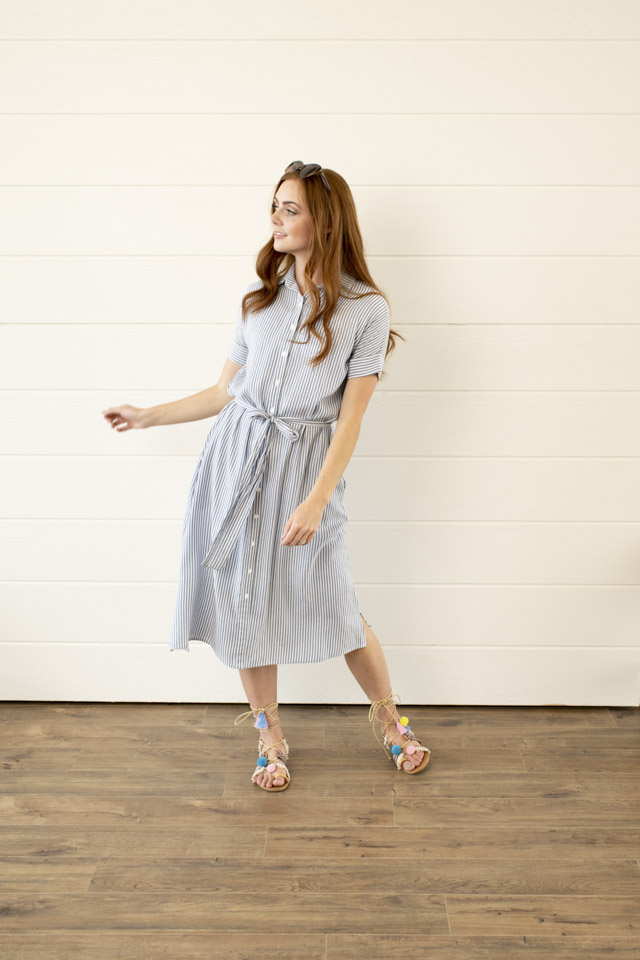 Image For Cuffed Sleeve<br>Shirt Dress