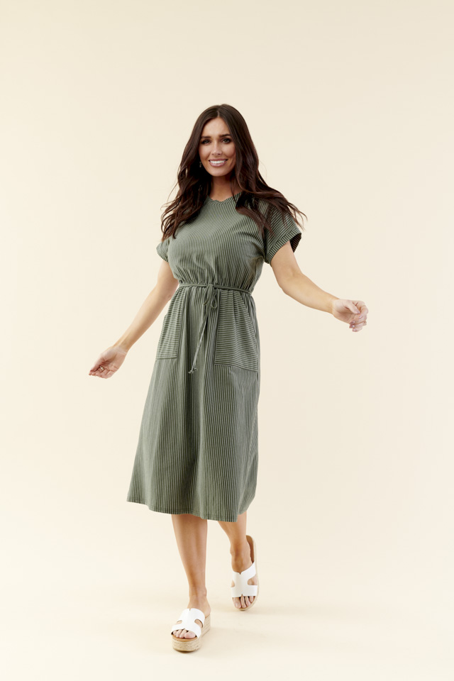 Image For Gathered Waist<br>Tie Dress<br>Olive