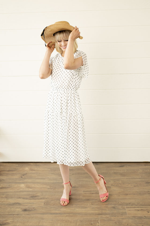 Image For Tulip Sleeve<br>Polka Dot Dress
