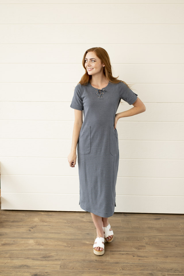Image For Knit Stripes and<br>Grommets Dress
