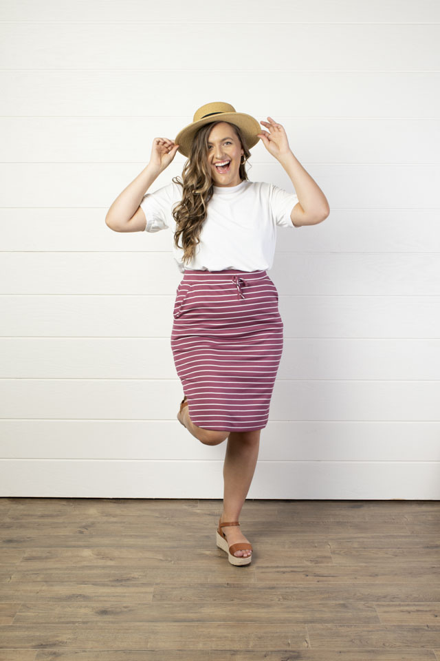 Image For Knit Waist Tie<br>Pencil Skirt<br>Plum