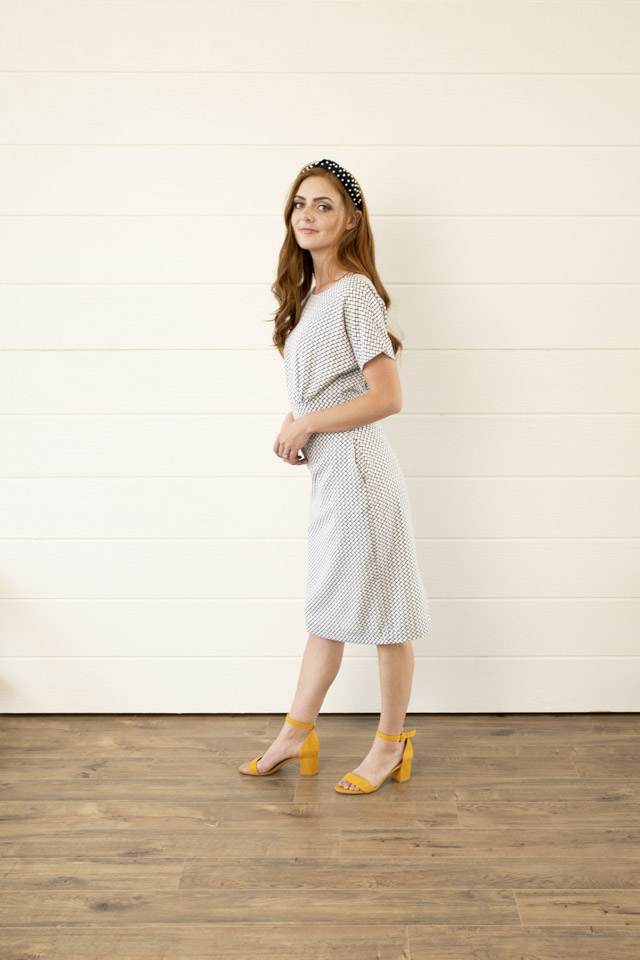 Image For Boat Neck<br>Flared Sleeve Dress