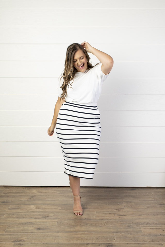 Image For Striped Midi Skirt<br>with Pockets